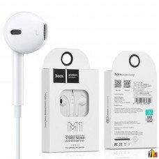 Наушники внутриканальные HOCO M1, микрофон, кнопка ответа, регулятор громкости, кабель 1.2м, цвет: б