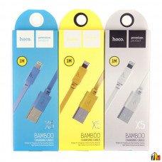 Кабель USB - Apple 8 pin HOCO X5 Bamboo, 1.0м, плоский, 2.1A, силикон, цвет: белый