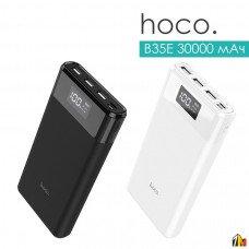 Аккумулятор внешний HOCO B35E, Entourage, 30000mAh, пластик, 3 USB выхода, дисплей, 2.0A, цвет: чёрн