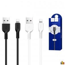 Кабель USB - Apple 8 pin HOCO X20, 2.0м, круглый, 2.1A, силикон, цвет: чёрный(1/30/300)
