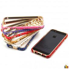 Бампер металлический со стразами для iPhone 5/5S