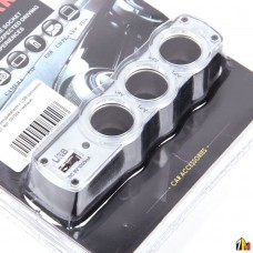 Тройник прикуривателя с USB разъемом WF-0120