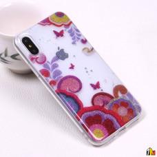 Силиконовый чехол с блестками для iPhone X