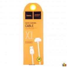 Кабель USB - Apple 30 pin HOCO X1 Rapid, 1.0м, круглый, 2.1A, силикон, цвет: белый