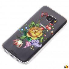 Силиконовый чехол Цветы для Samsung Galaxy S7 Edge