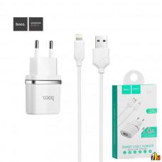 Сетевое зарядное устройство 2 в 1 Hoco C11, 1А, кабель Lightning