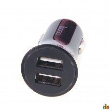 Блок питания автомобильный 2 USB HOCO, UC204, 1000mA и 2400mA, пластик, чёрный