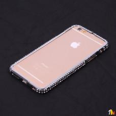 Бампер металлический со стразами для iPhone 6/6s
