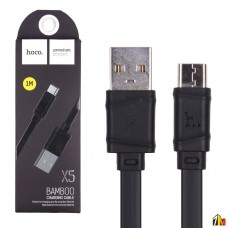 Кабель USB - Type-C HOCO X5 Bamboo, 1.0м, плоский, 2.1A, силикон, цвет: чёрный(1/30/300)