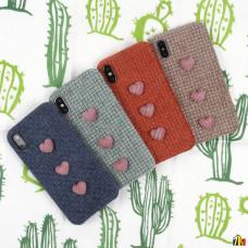 Чехол текстильный с сердечками для iPhone X/XS